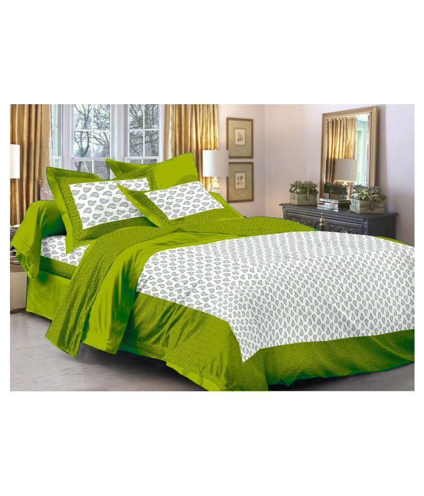 Frionkandy Cotton Double Bedsheet with 2 Pillow Covers