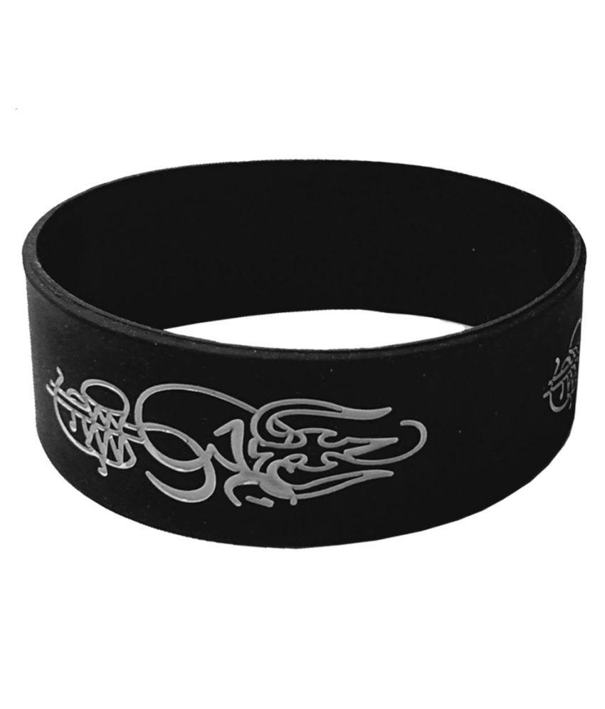 Men Style Trishul Damru Black Silicon Bracelet