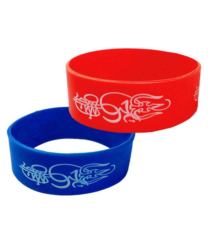 Men Style Trishul Damru Multicolor Silicon Bracelet