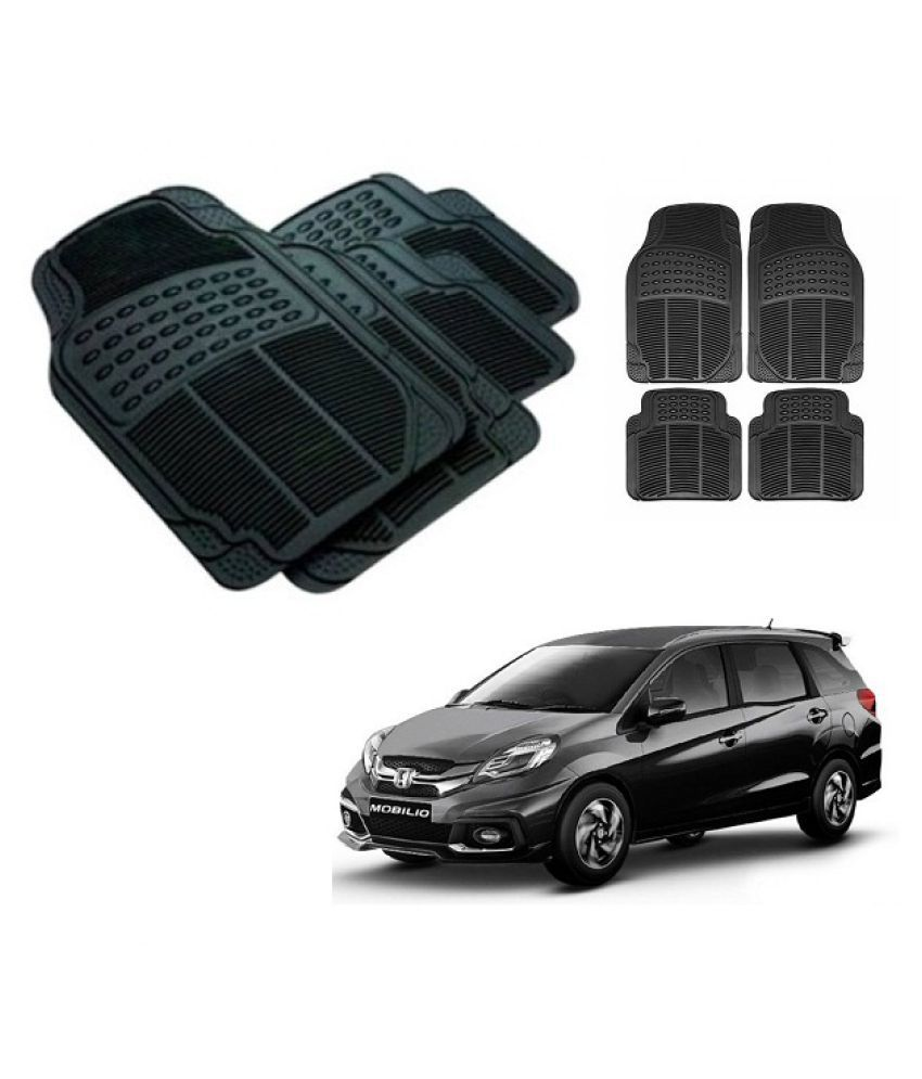 Neeb traders Car Rubber Foot  Mats for  Honda Mobilio (Set of 4, Black)