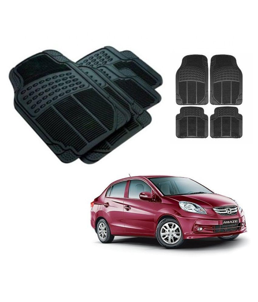 Neeb traders Car Rubber Foot  Mats for  Honda Amaze Old  (Set of 4, Black)