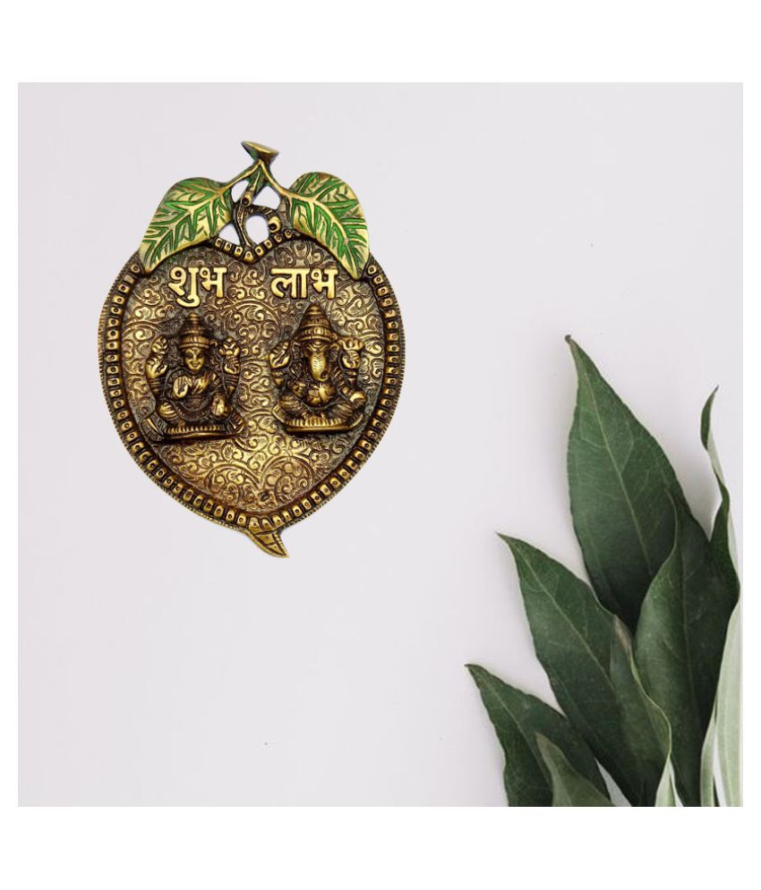 Susajjit Decor Brass Wall Hanging of Lakshmi and Ganesha Wall Sculpture Brown - Pack of 1
