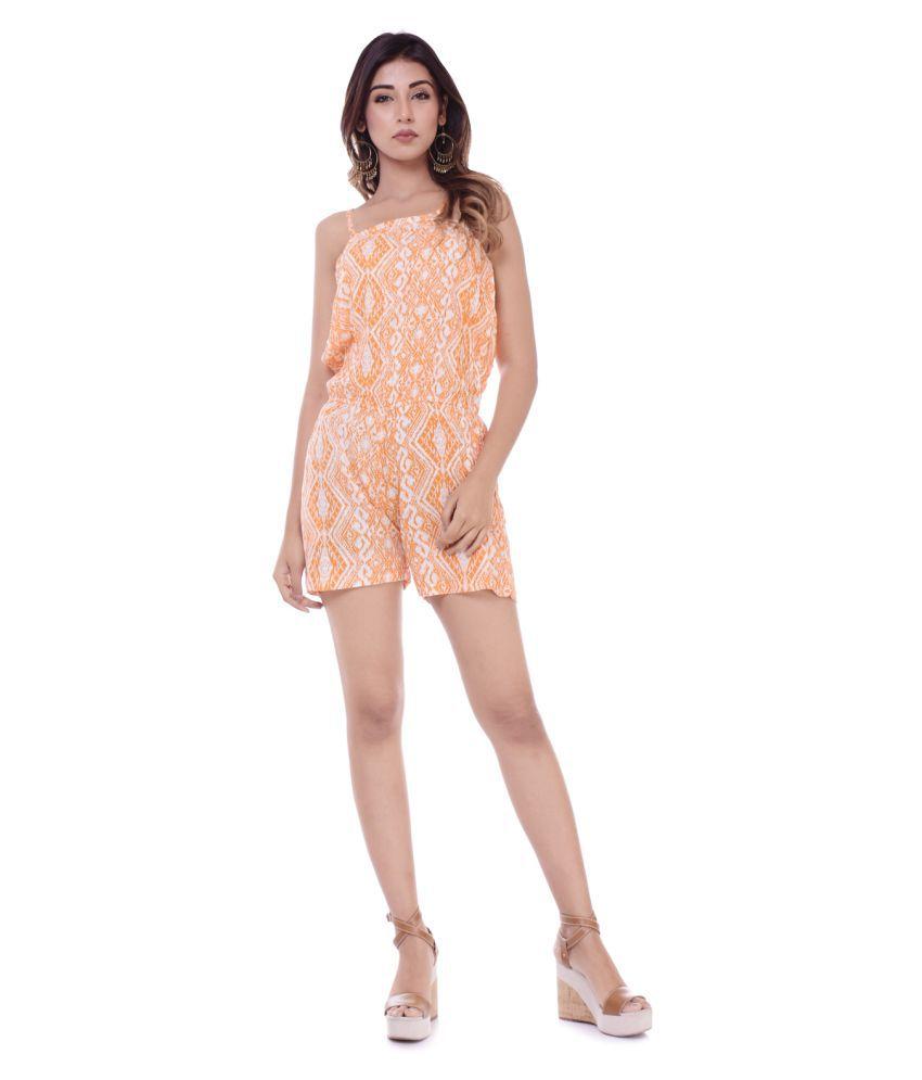 CUEGAL Orange Viscose Jumpsuit