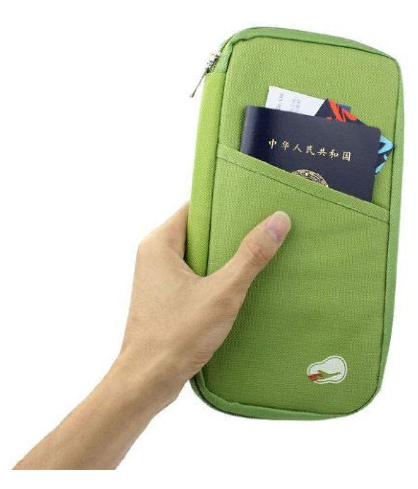 Everbuy Nylon Green Passport Holder