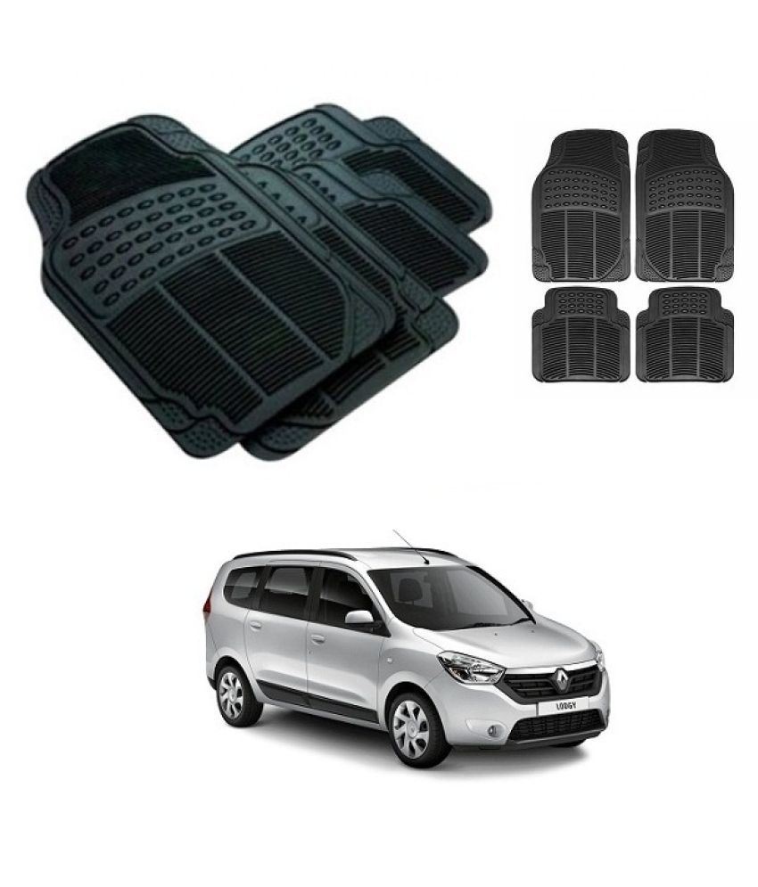 Neeb traders Car Rubber Foot  Mats for Renault Lodgy (Set of 4, Black)