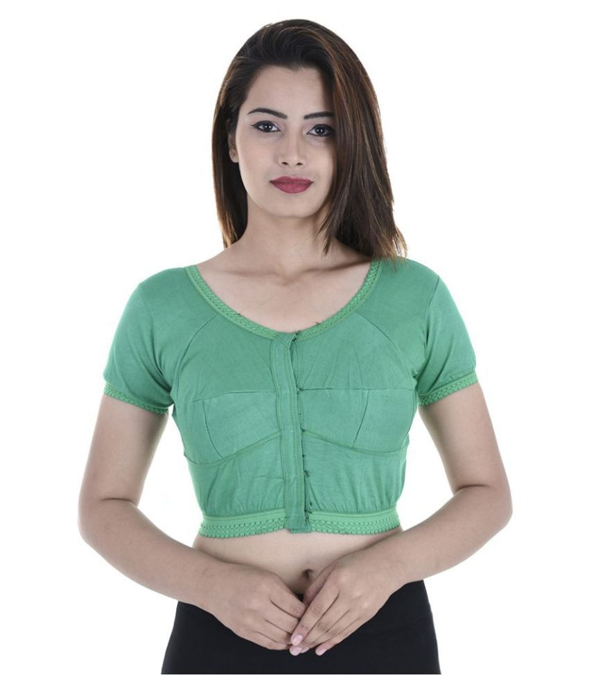 Apratim Green Cotton Readymade without Pad Blouse