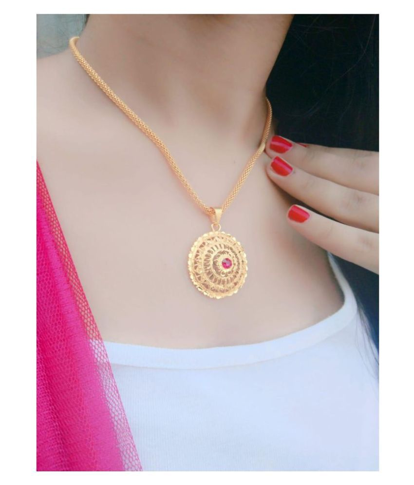 Darshini Designs Gold Plated Traditional round pendant with gold plated chain for girls and women