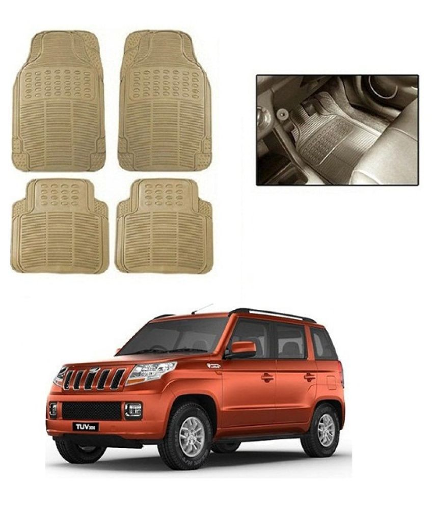 Neeb traders Car Rubber Foot  Mats for Mahindra TUV 300 (Set of 4, Cream)