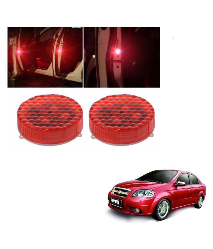 Auto Addict Waterproof 5 LED Wireless Car Door Warning Open Lights Indicator Decor Interior Flash Magnetic car led Lights for Anti Rear-End(RED) Free Batteries (2 Pair 4 pcs) For Chevrolet Aveo