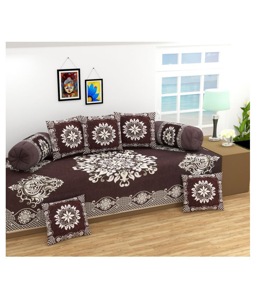 Laying Style Chenille Multi Floral Diwan Set 8 Pcs
