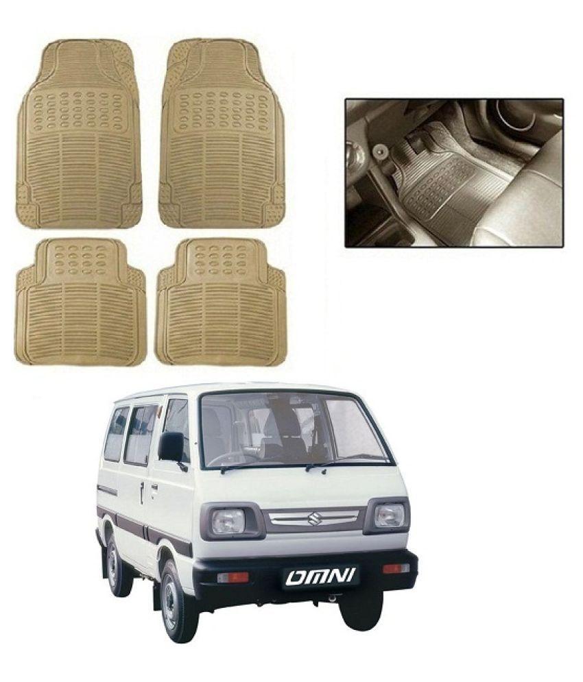 Neeb traders Car Rubber Foot  Mats for Maruti Suzuki Omni (Set of 4, Cream)