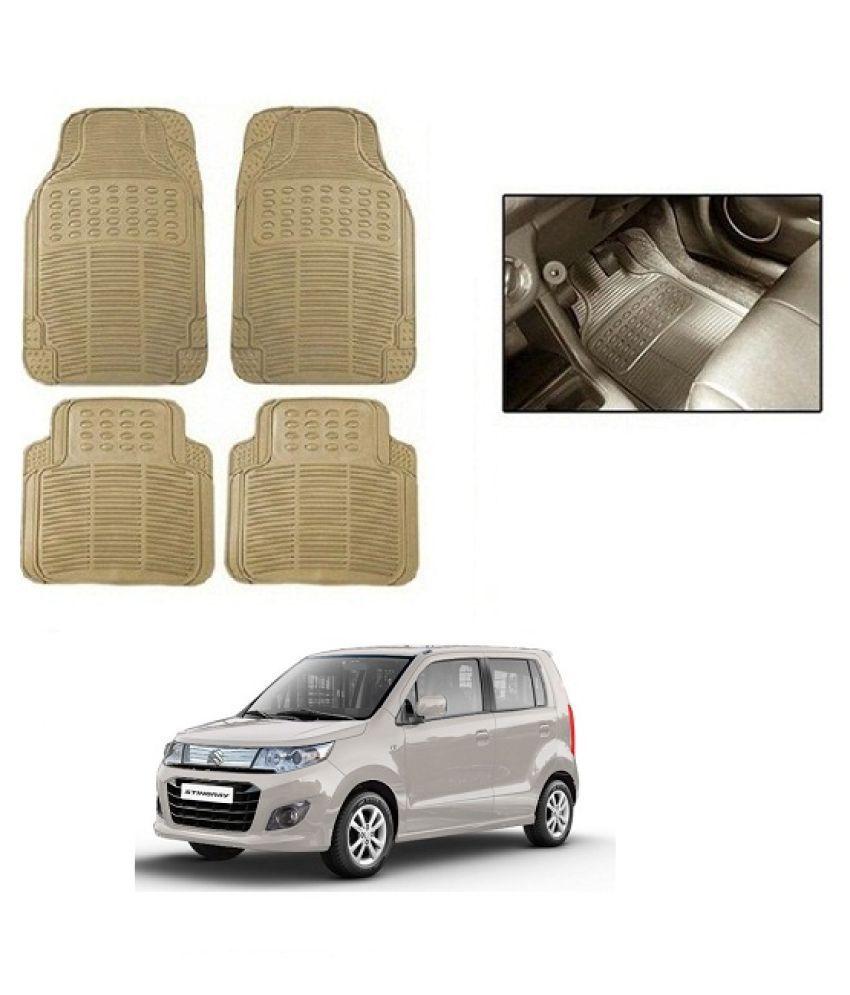 Neeb traders Car Rubber Foot  Mats for Maruti Suzuki WagonR Stingray (Set of 4, Cream)