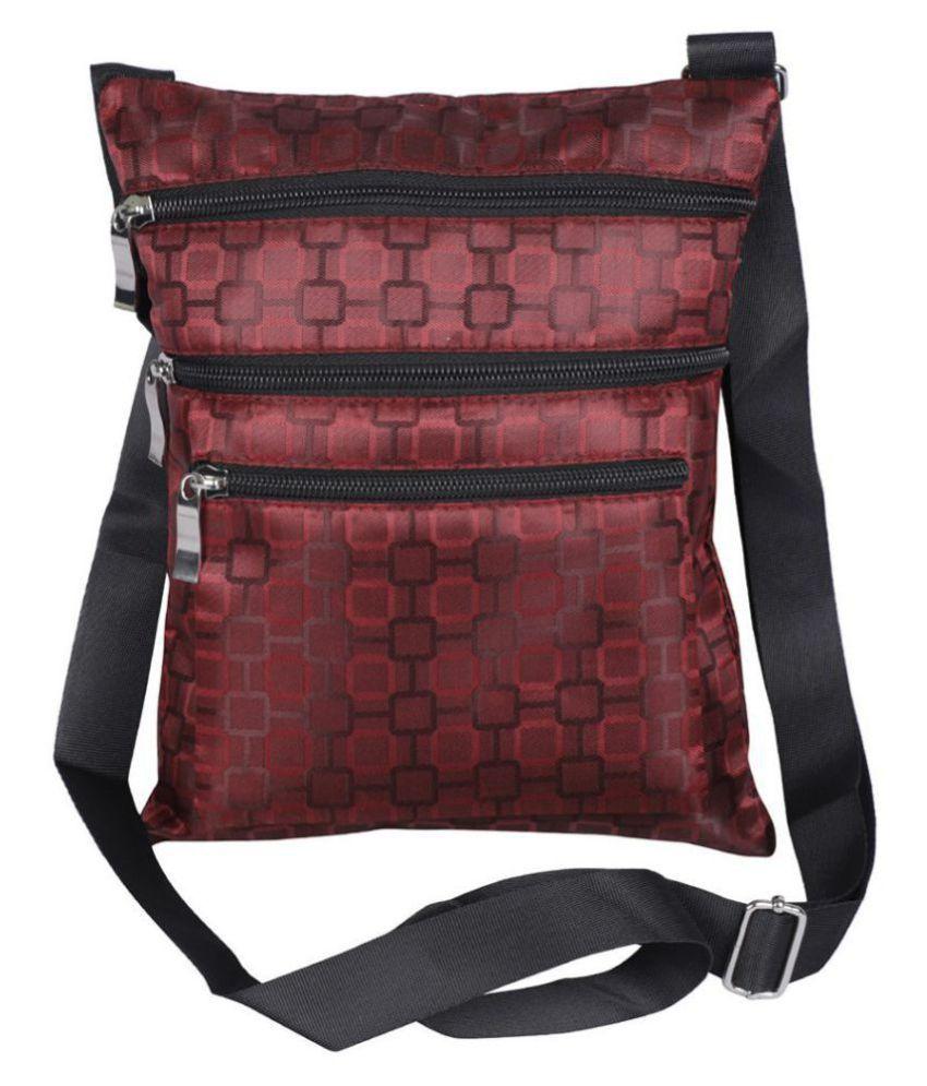 NFI Maroon Polyster Sling Bag