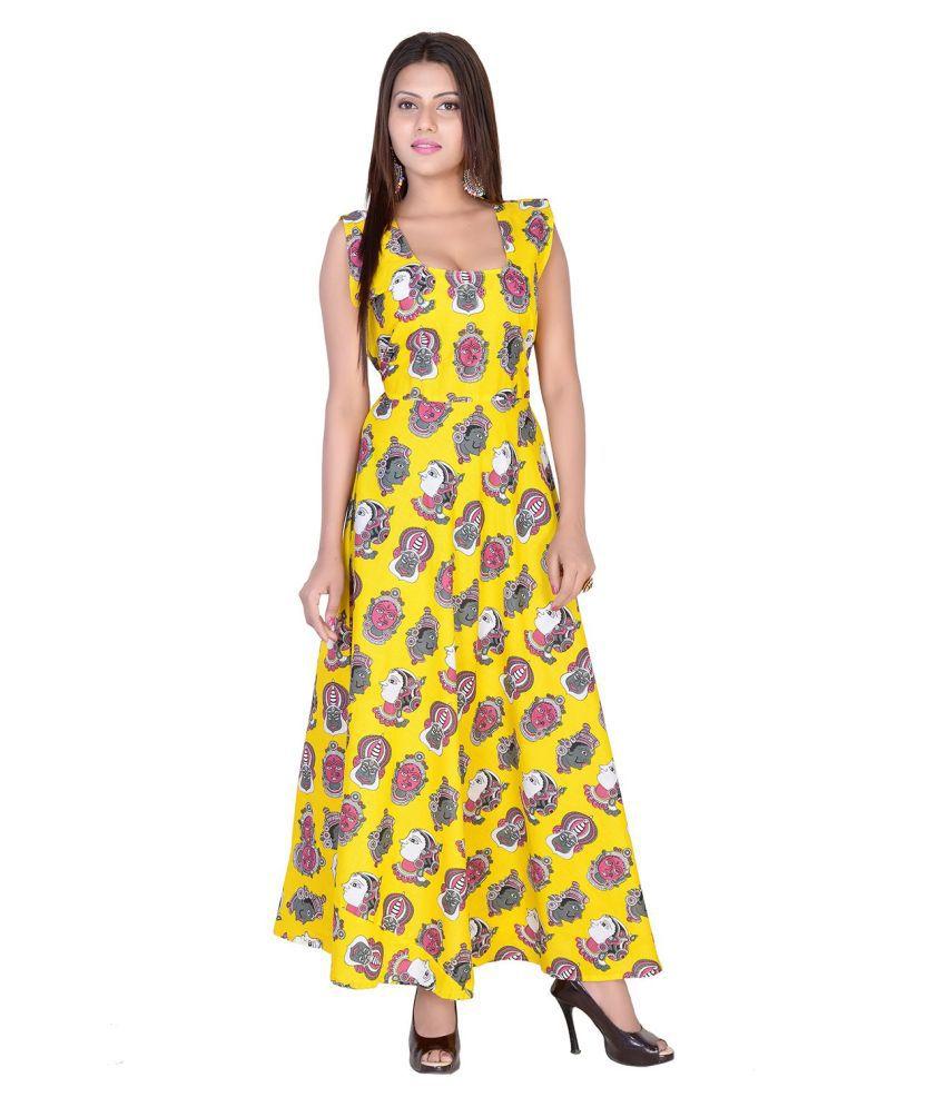 fabcolors Cotton Yellow A- line Dress