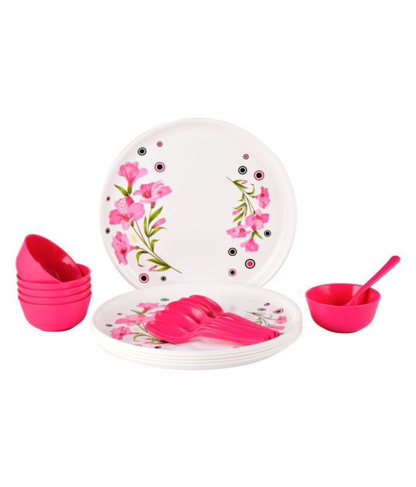 Homray Exotic Printed Plastic Dinner Set of 18 Pieces