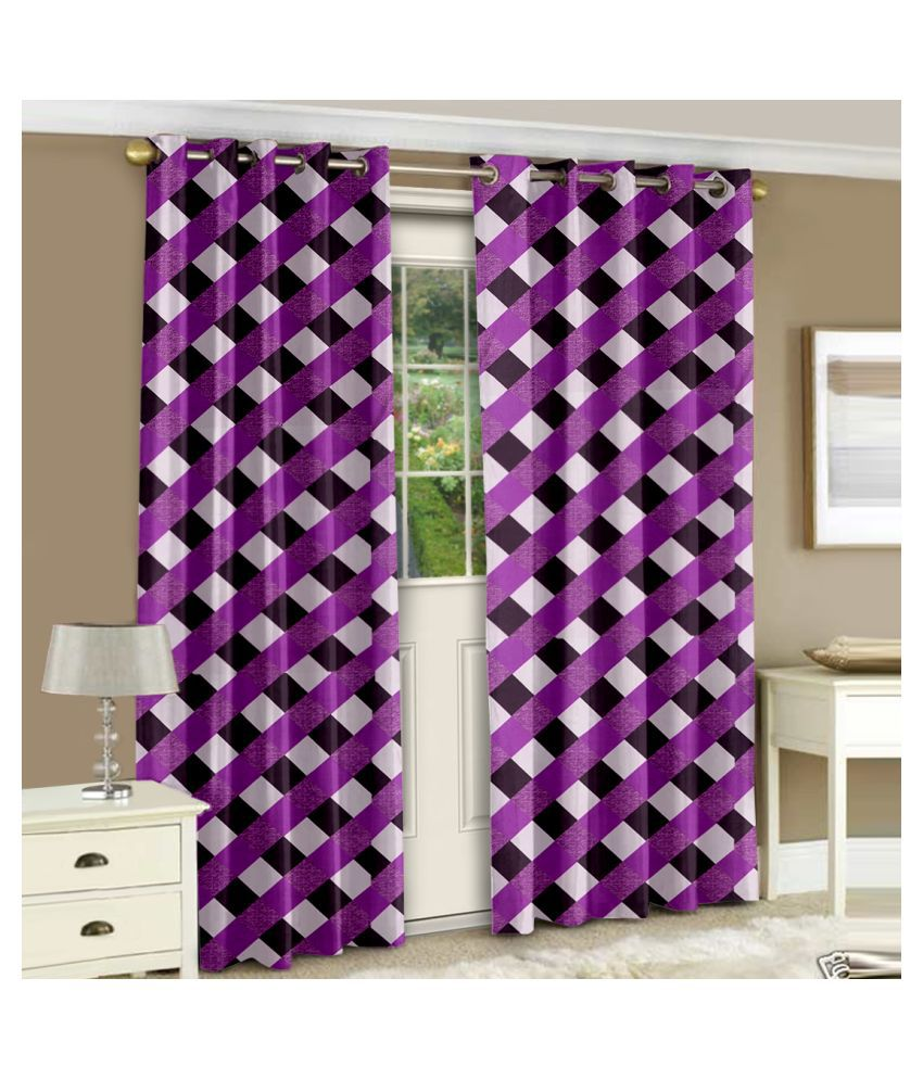 Story@Home Set of 2 Door Semi-Transparent Eyelet Polyester Curtains Purple
