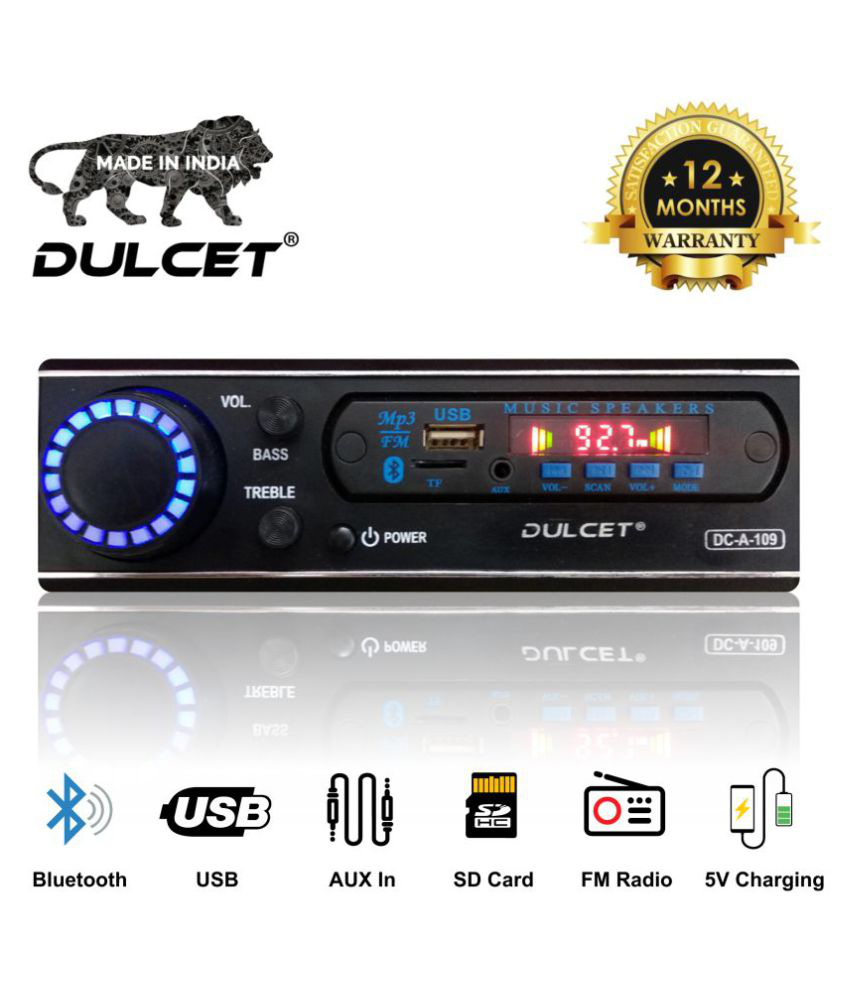 Dulcet DC-A-109 Double IC High Power Universal Fit Mp3 Car Stereo with Bluetooth/USB/FM/AUX/MMC/Remote & Built-in Equalizer with Bass & Treble Control [Includes a Free 3.5mm Aux Cable]