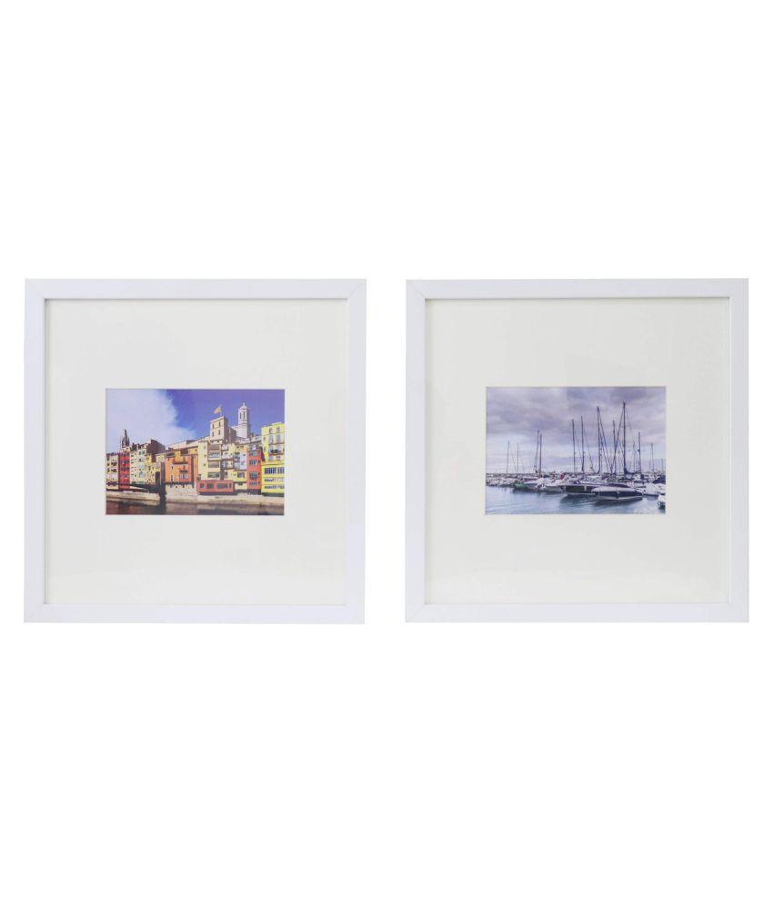 Framebuzz Wood Wall Hanging White Photo Frame Sets - Pack of 2