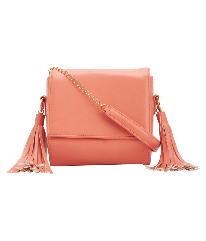 Bagstopia Peach Faux Leather Sling Bag
