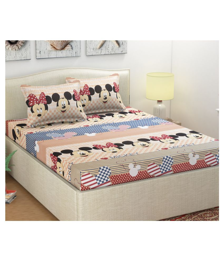 MB Mr. Badoli Microfibre Double Bedsheet with 2 Pillow Covers