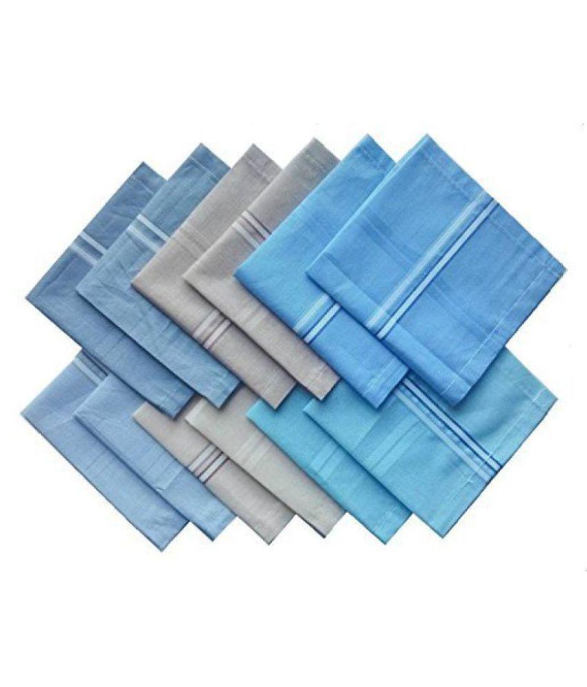 R.O.H.C Men's Cotton Rumal (Multicolour, 45x45 Cm) - Pack of 12