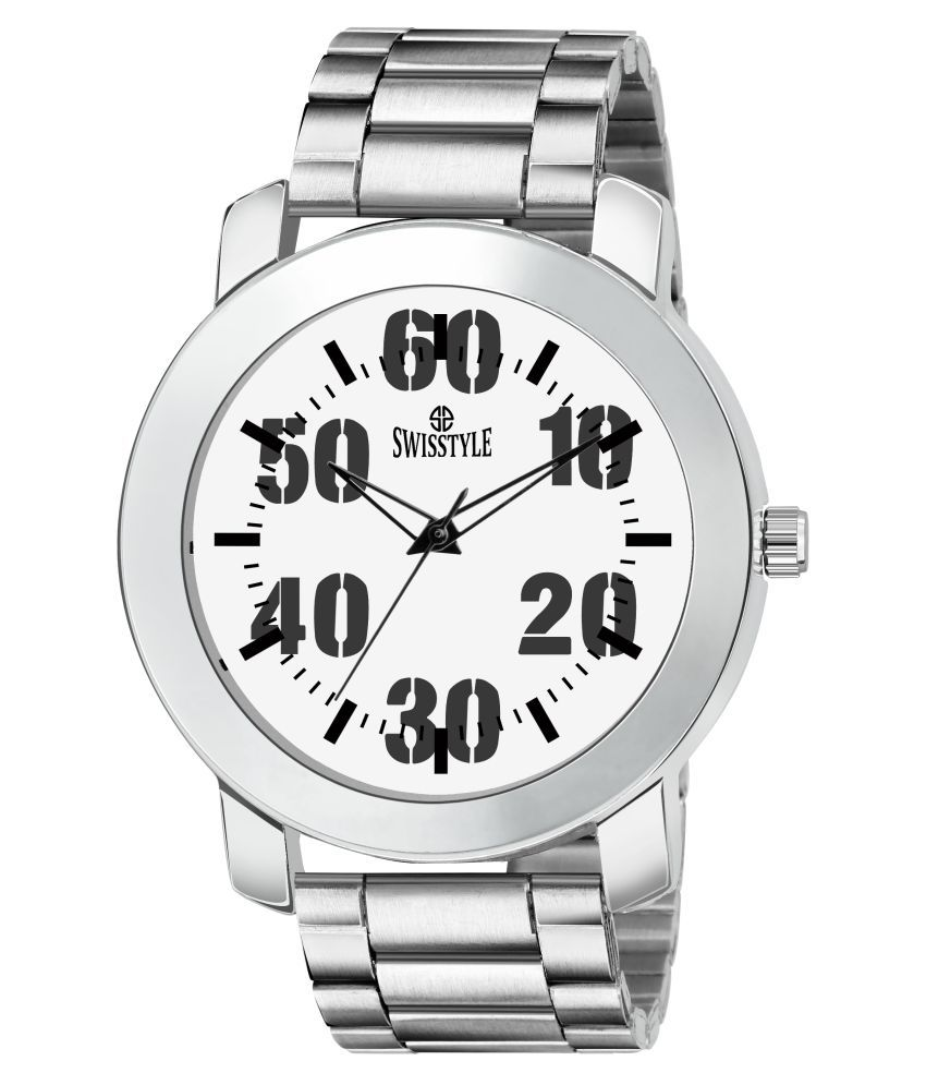 Swisstyle SS GR808 WHT SLV CH Stainless Steel Analog Men #039;s Watch