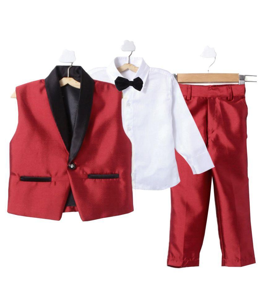 Jeetethnics Red Cotton Boys Waistcoat Suit Set