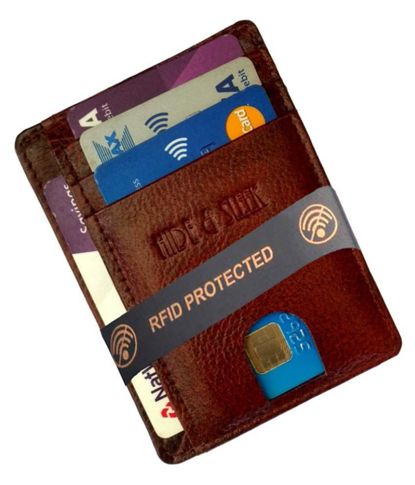 RFID Protected Brown Leather Credit Card Holder