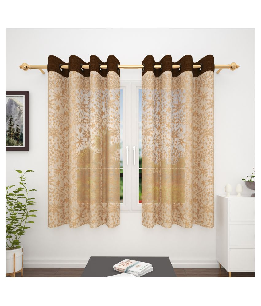 Story@Home Set of 2 Window Transparent Eyelet Polyester Curtains Brown