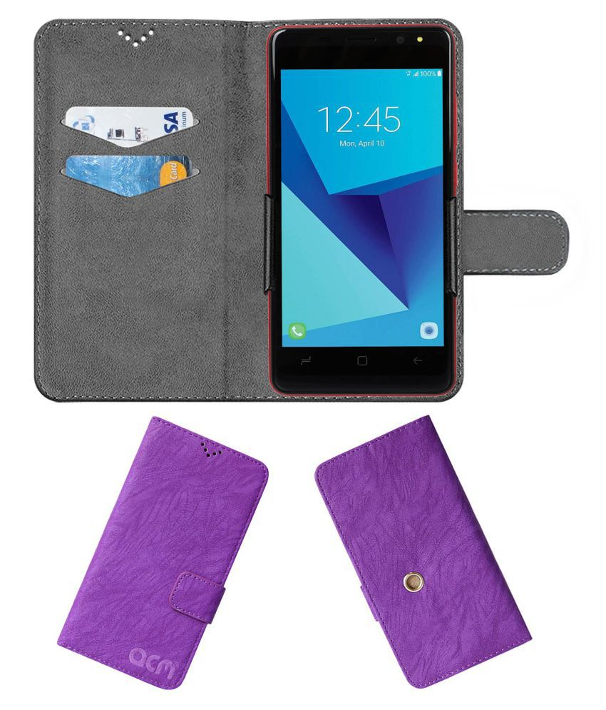 Tashan Ts-971 Flip Cover by ACM - Purple Clip holder to hold phone