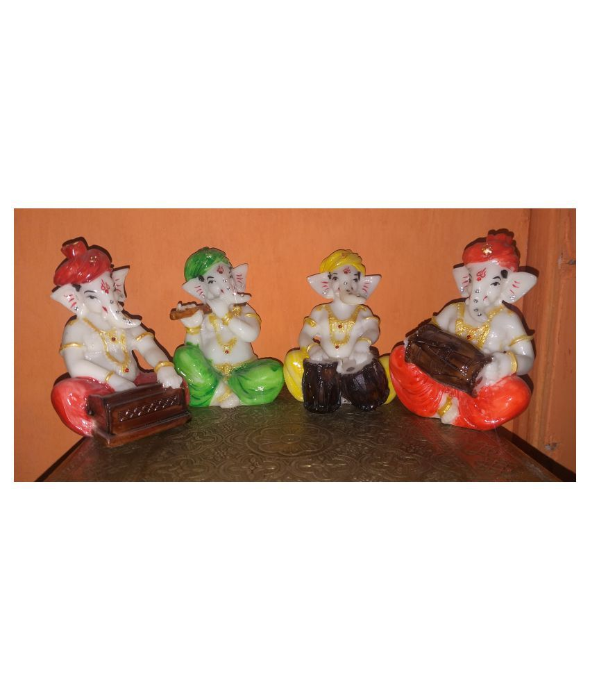 ANITHA DECORS Acrylic MUSICAL BAND GANESHA SET OF 4 Wall Sculpture Assorted - Pack of 1