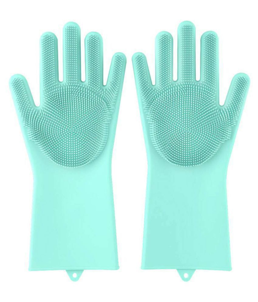 Hanuman Impex 1 Pair Assorted Reusable Silicone Rubber Bristles Scrubbing Sponge Cleaning Gloves