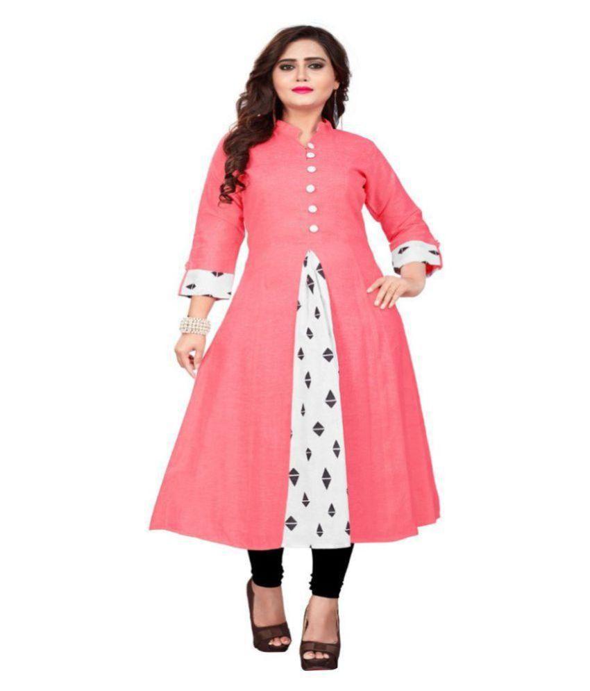 Pervious Fashion Pink Cotton Anarkali Kurti