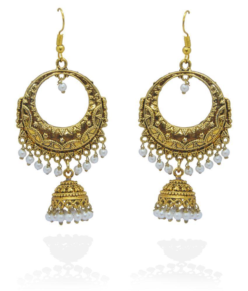 j. j. jewellers Afghani Tribal Oxidised Party Wear Chandlier Jhumki Earrings
