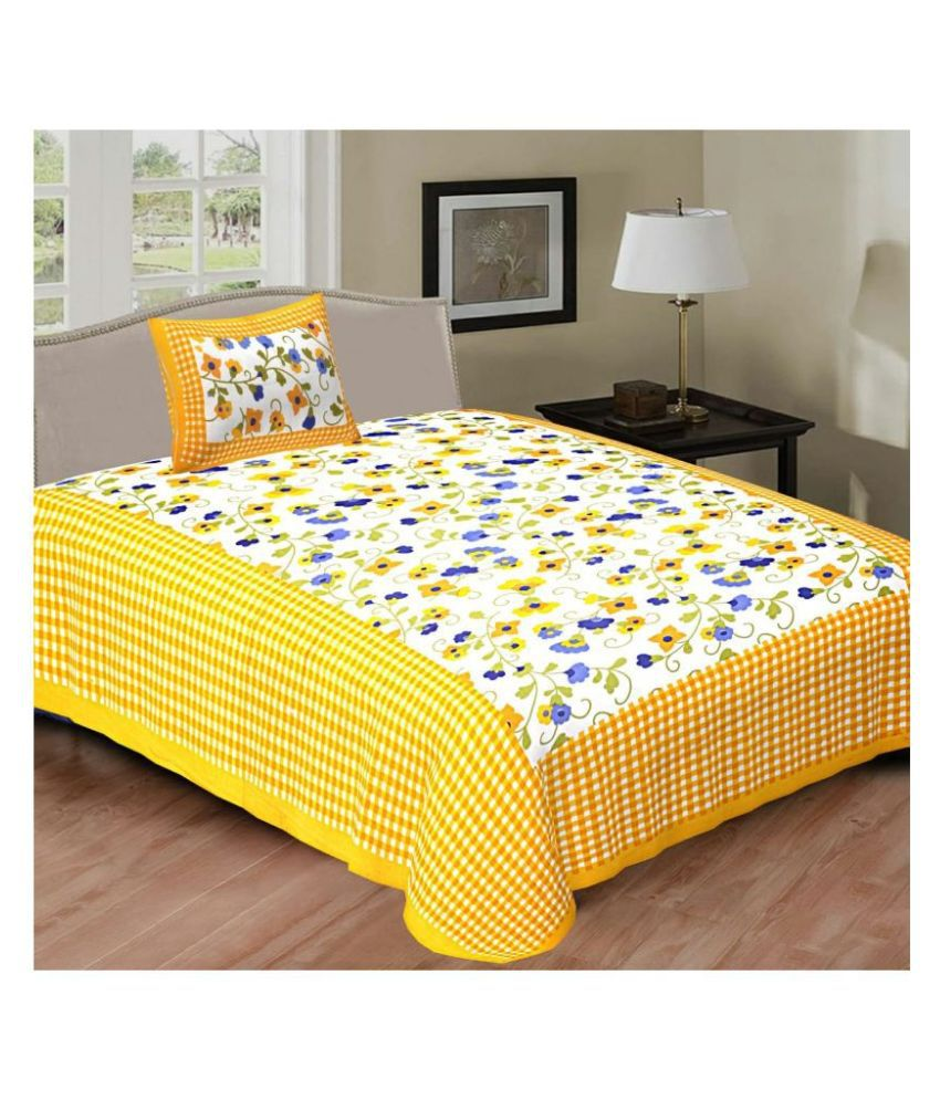 Indian Sparrows Cotton Single Bedsheet with 1 Pillow Cover