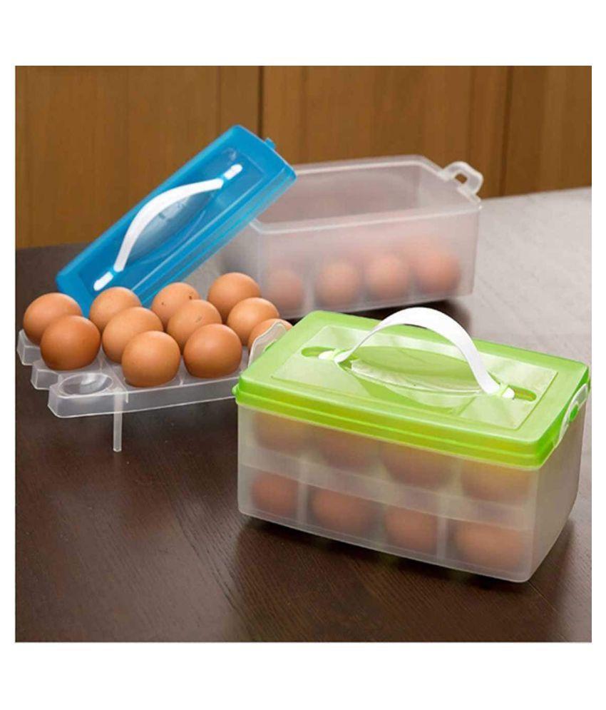 Everbuy (set of 2)Plastic Double Layer Refrigerator 24 Eggs Storage Box Airtight Basket (Multi Color)