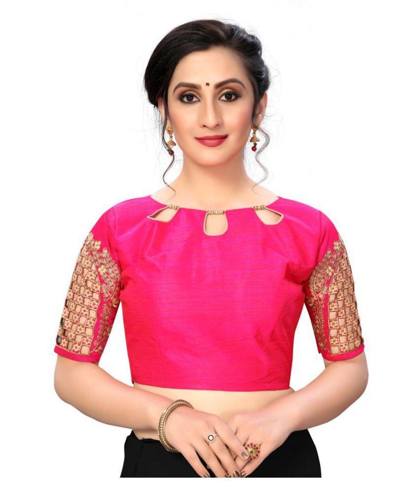 Fab Dadu Pink Silk Semi Stitched Blouse