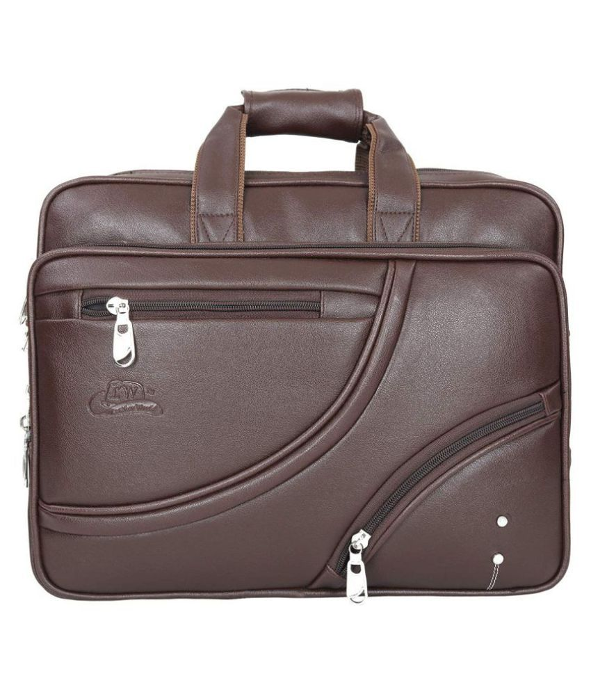Leather World up to 17 inch laptop Brown P.U. Office Bag