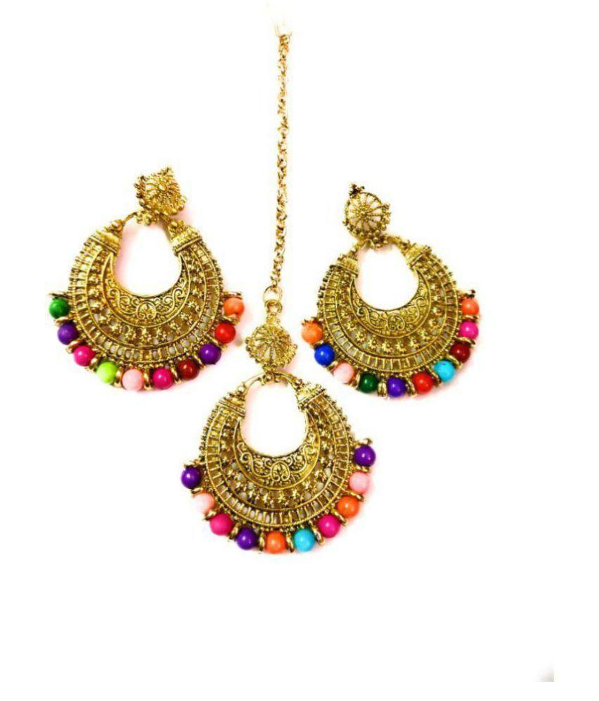 Ethnic Chandbali Earring with Maang Tikka for Women