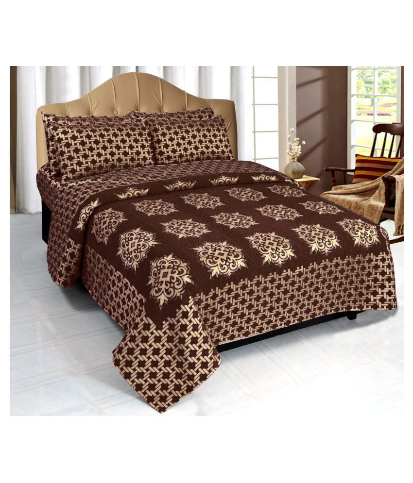 luvnoor handloom Velvet Double Bedsheet with 2 Pillow Covers