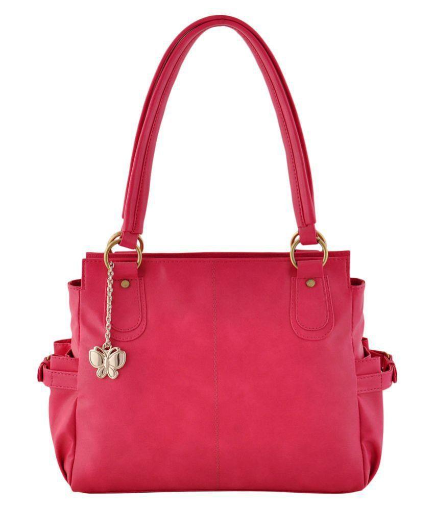 Butterflies Pink P.U. Shoulder Bag