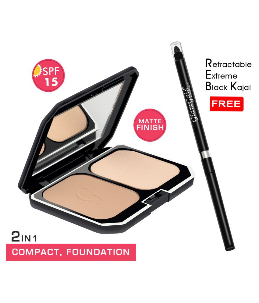 GlamGals Compact  (Earth Glow) + kajal Free Pressed Powder Medium SPF 15 Pack of 2 10 g