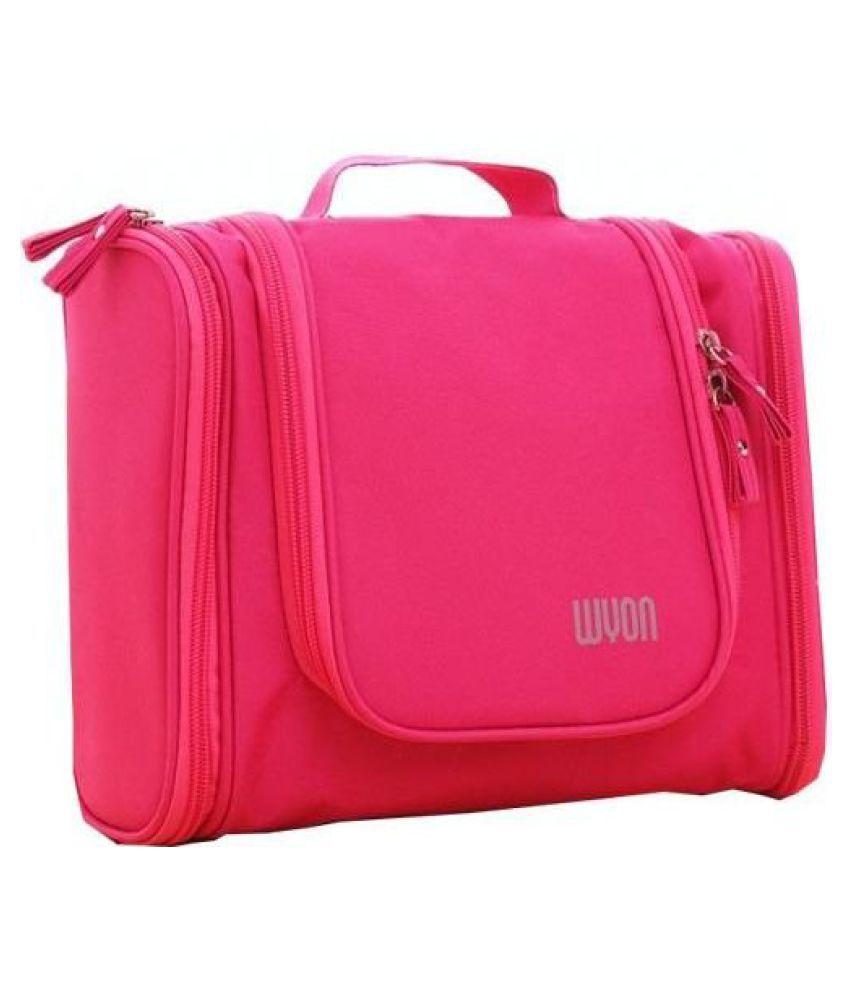 Everbuy Pink Polyester Waterproof Toiletry Makeup Cosmetic Bag