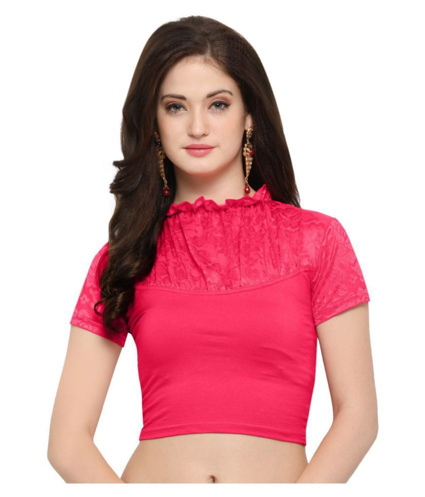 Janasya Pink Lycra Readymade without Pad Blouse