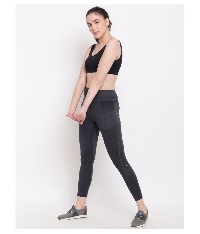 X-Cult Black Polyester Lycra Solid Tights