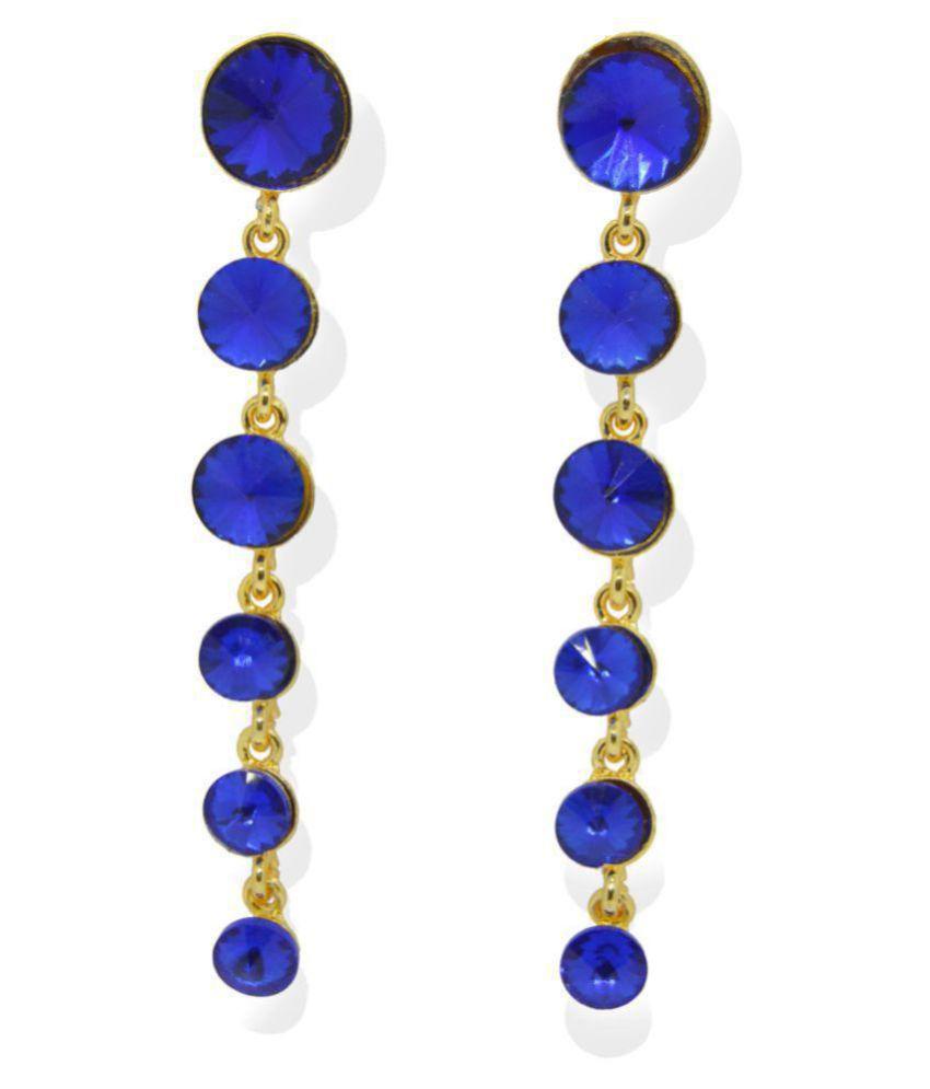 j. j. jewellers Fashion Stylish Long Gold Plated Stone Earrings Jhumki for Women (Blue Colour)