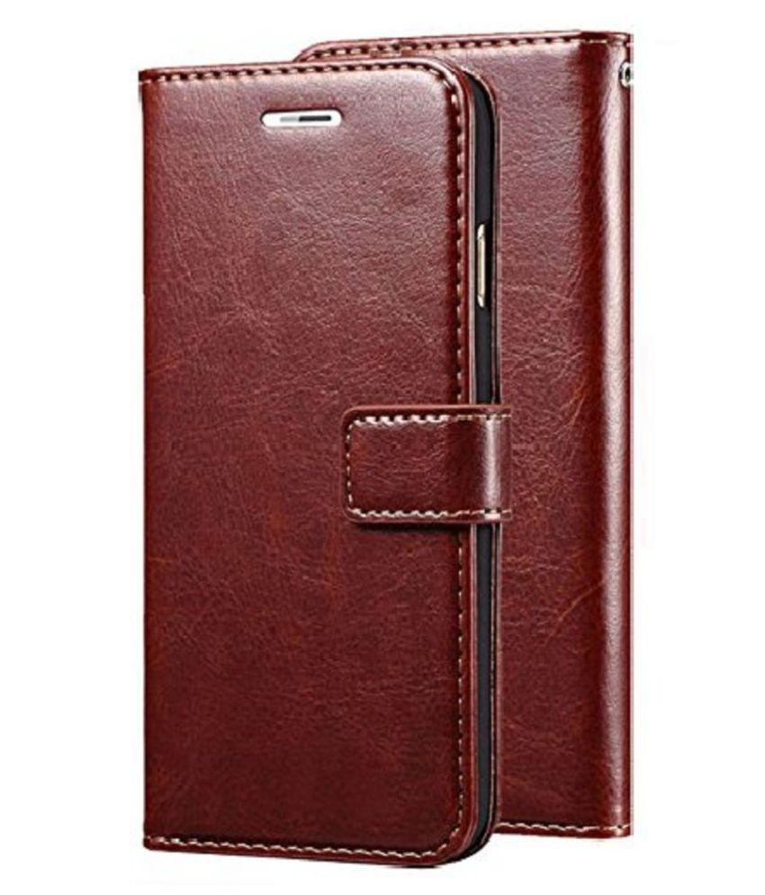 Xiaomi Redmi Note 5 Pro Flip Cover by KOVADO - Brown Original Leather Wallet