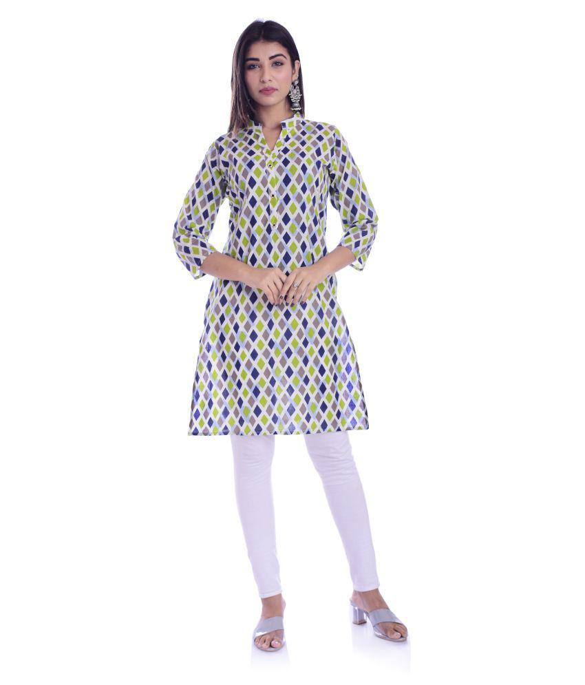 Maahima Fashions White Cotton Straight Kurti