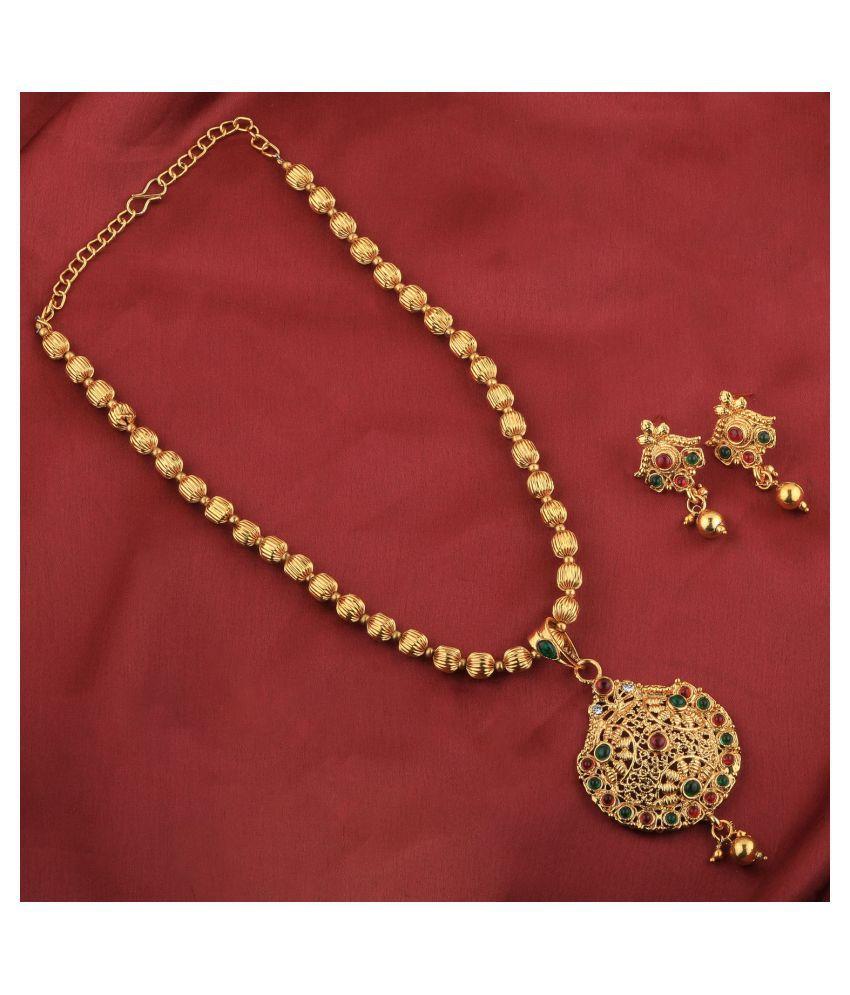 SILVERSHINE Goldplated Designer Traditional Diamond Pendent Set for women jewellery