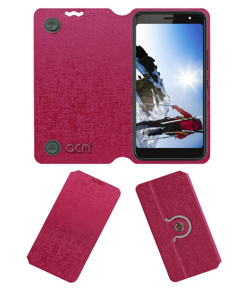 Centric L4 Flip Cover by ACM - Pink Dual Side Stand